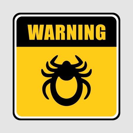 lyme disease: Ticks stop sign. Mite warning sign. Vector illustration of tick warning sign on yellow background.