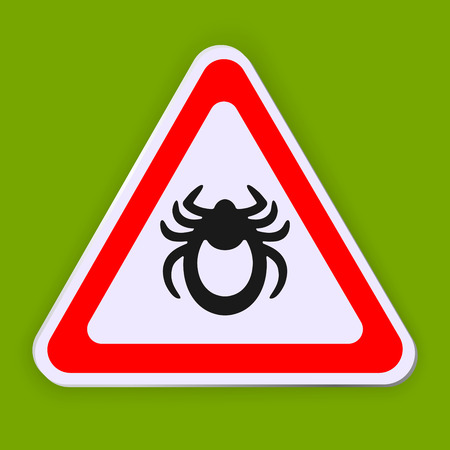 Mite warning sign. Tick vector icon isolated on white. Encephalitis parasite sign on green background Illustration