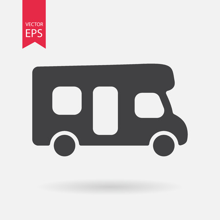 motorhome: Motorhome icon. Camping sign. Camper van isolated on white background. Flat design style. Illustration