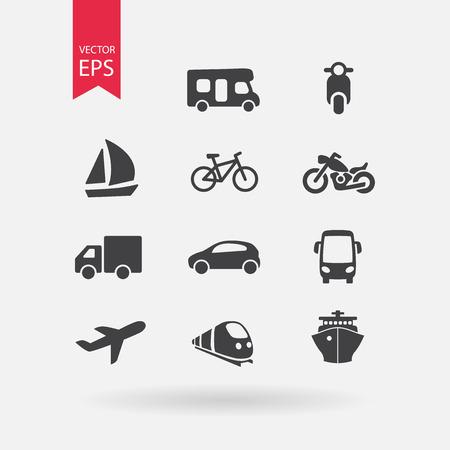 pilgrimage: Transportation icons set. Signs Isolated on white background. Flat design style. Vector illustration