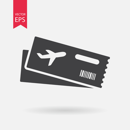 business class travel: Air ticket vector icon. Modern Airline boarding pass tickets isolated on white Two airplane tickets. Travel symbol. Flat design style.