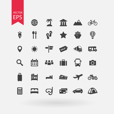 excursions: Travel icons set. Tourism signs collection. Vacation symbols isolated on white background. Flat design style