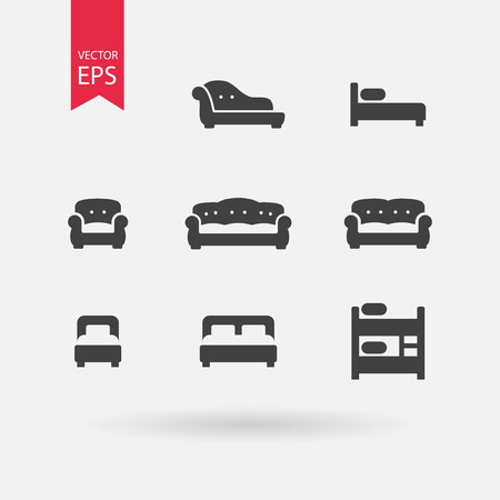 bunk bed: Furniture icons set. Signs of Double bed, Cribe, Bunk Bed Isolated on white background. Vintage Sofa, Armchair, Chesterfield, Couch. Flat design vector elements for you design, web, hotel or hostel.