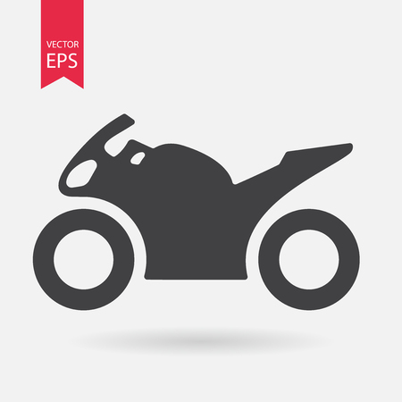 Motorcycle Icon. Sportbike sign isolated on white background. Flat design style. Vector illustration Vector Illustration