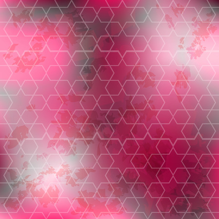 textile image: Abstract background in purple tones. Geometric pattern with stars. Amaranth red and pink colors. Modern design. Grunge texture. Image can be used for wallpapers, textile, wrapping, web banner, print