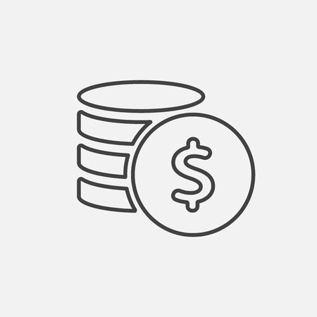 cent: Money. Line Icon Vector. Coins and Dollar cent Sign isolated on white background. Flat design style.