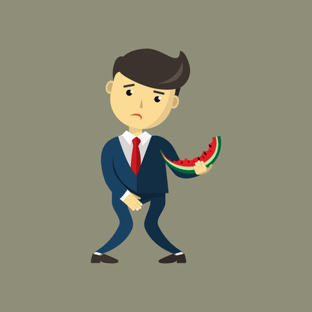Man eating Watermelon. He wants to pee and is holding his bladder. Guy needing to urinate by covering his crotch hand, must holding a toilet. Incontinence concept. Flat cartoon vector illustration.