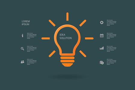 fluorescent lights: Light bulb idea inspiration concept. Lighted lamp. Solution sign. Template background for your creative design, print, booklet, brochure, website, webdesign, mobile app. Vector illustration Illustration