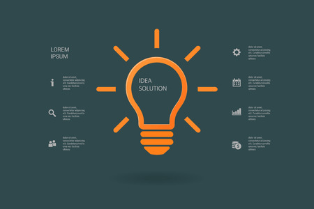 lighted: Light bulb idea inspiration concept. Lighted lamp. Solution sign. Template background for your creative design, print, booklet, brochure, website, webdesign, mobile app. Vector illustration Illustration