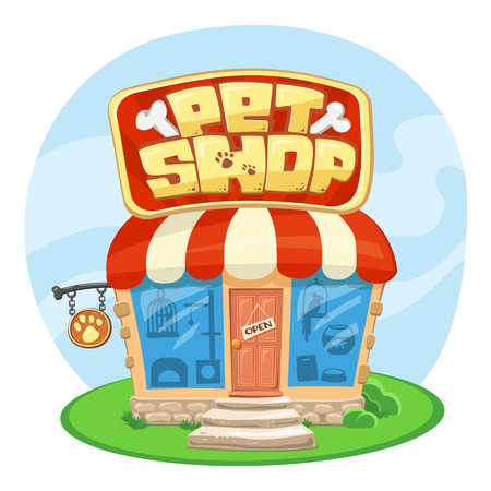 Pet shop building. Cartoon vector illustration. Concept of Street Signboard. Some cute stuff for pets