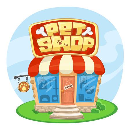 city fish market sign: Pet shop building. Cartoon vector illustration. Concept of Street Signboard. Some cute stuff for pets