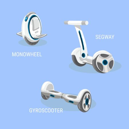 Segway. Monowheel or Solo wheel. Hoverboard or Gyroscooter. Set of vector illustrations. Self-balancing electric scooter. Alternative Eco Transport isolated on a blue background