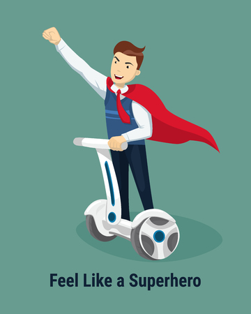 Feel like a Superhero concept. Handsome happy Businessman in a suit superhero riding to work on segway. Self balancing electric scooter. Vector illustration in flat style.
