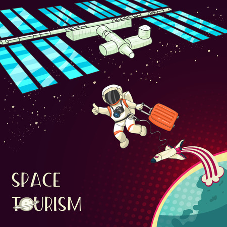 space station: Space tourism concept. Astronaut with travel bag. Shuttle, Planet Earth. International Space Station. Retro style design for print card, web. Vector cartoon illustration