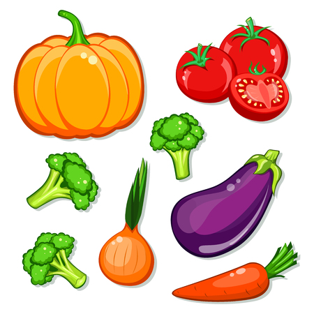 eggplant: vegetables vector set. Patch, sticker isolated on white background. Cute Pumpkin, carrot, onion, eggplant, broccoli, tomatoes. Vegan healthy eating, vegetarian organic food, diet. Comics cartoon style. Illustration
