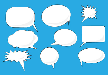 Speech bubbles set. White Vector icons isolated on blue. Comic, pop art style. Doodle, scetch blank elements for speak text, message. Illustration