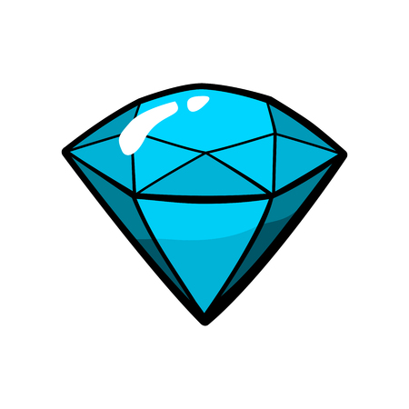 Diamond, jewelry patch badge, sticker, pin isolated on white. Vector cartoon blue shine brilliant, adamant, gem stone. Cool luxury illustration. Modern fashion Pop Art comic style 80s 90s Illustration