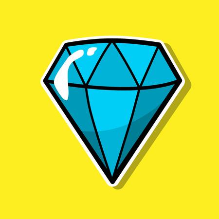 Diamond, jewelry patch badge, sticker, pin isolated on yellow. Colored Vector cartoon shine brilliant, adamant, gem stone. Cool luxury illustration. Modern fashion Pop Art comic style 80s 90s