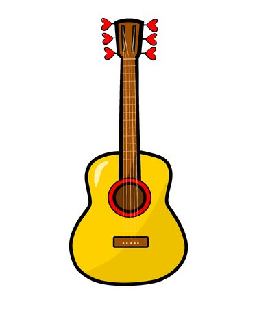 Guitar, hearts. Vector colored Sticker, icon, patch badge isolated on white. Romance music concept for Valentines Day card, wedding poster. Hand drown vector illustration. Doodle cartoon, comic style Illustration