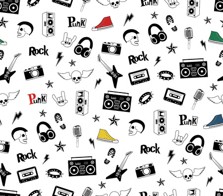 textille: Punk Rock seamless pattern isolated on white. Rock and roll doodles. Music signs, rockstar, record label, skull, tattoo, guitar band. Cool vector hand drown design for print, textille, wrapping paper Illustration