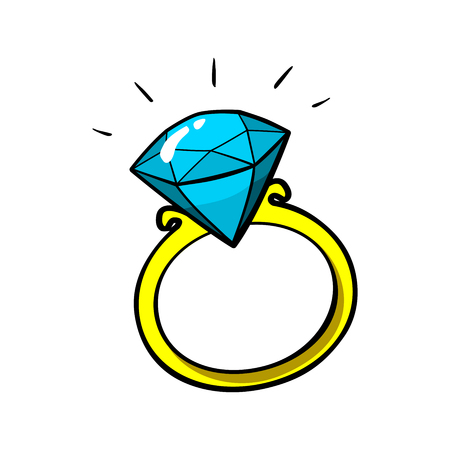adamant: Diamond ring vector patch badge, sticker, pin isolated on white. Vector cartoon blue shine brilliant, adamant, gem stone. Cool luxury illustration. Modern fashion Pop Art comic style 80s 90s