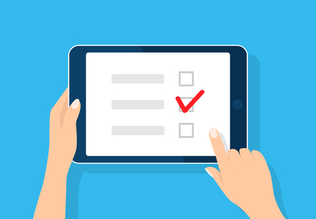 Online survey, checklist. Hand holds tablet and finger touch screen. Feedback business concept. Cartoon flat vector illustration isolated on blue. Minimalistic design for web site, mobile app