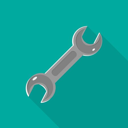 Wrench tool, spanner icon isolated on green. Colored vector flat illustration for web site, mobile app.  Auto service, car repair, settings, toolbox, toolbar, key sign with long shadow
