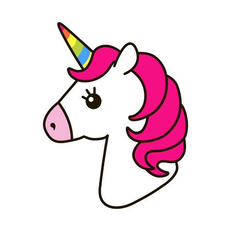 Icona vettoriale Unicorno isolato su bianco. Adesivo cavallo ritratto capo, badge patch. Carino animale sveglio fantasy fantasy carino. Corno arcobaleno, capelli rosa. Simbolo del sogno. Design per bambini Archivio Fotografico - 73245911