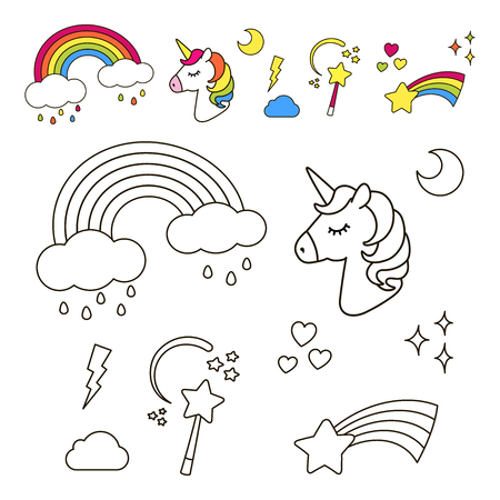 Stickers set with unicorn, rainbow, star, cloud, magic wand  for girls. Cool decoration elements. Vector comic cartoon 80s-90s style. Line art design for anti stress coloring book