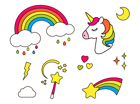 Stickers set with unicorn, rainbow, star, cloud, magic wand  for girls. Cool decoration elements isolated on white. Vector comic cartoon 80s-90s style. Cute set of fashion patch badges, pins