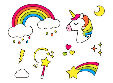 ステッカーは、女の子のためのユニコーン、虹、星、雲、魔法の杖で設定します。クールな装飾要素は、白で隔離。ベクトル漫画漫画 80 年代 90 年代 写真素材