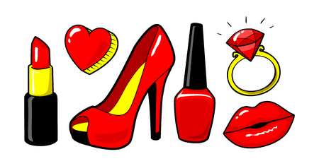 Red kiss lips, nail polish, lipstick, heart, ring, diamand. Womens shoe.  Make up. Cool sexy concept. Fashion style. Vector cartoon elements isolated. Stikers kit, set of icons, patches badge