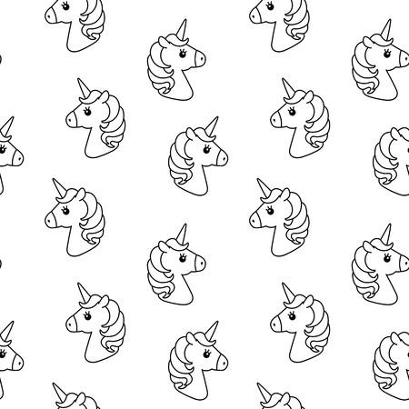 Unicorn Vector Seamless Pattern. Horse Head. Colored Book. Black ...