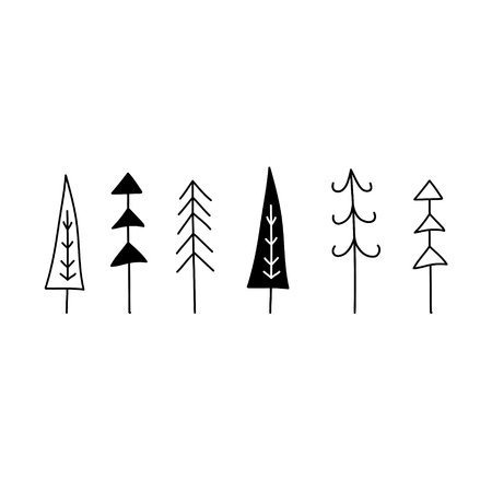 Christmas tree set. Hand drawn graphic vector illustration. Line, Silhouette isolated on white. Scandinavian nordic flat design for print Holiday greeting card, home interior, textile, wrapping.
