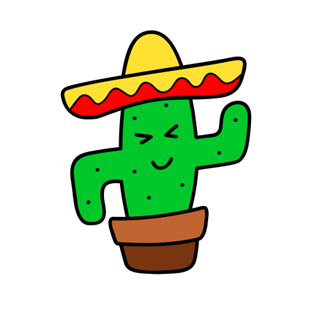 Cactus cartoon vector isolated sticker, patch, badge, pin, icon. Funny dansing cacti. Color Hat sombrero, mexico style, modern trendy cool design. Hand drown  illustration for card, textile, t-shirt. Stock Photo
