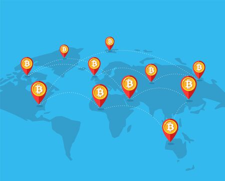 Blockchain. Bitcoin cryptocurrency business. Bit coin icon vector, block chain digital technology concept. Earth, map, net, pin. Infographic color flat trendy design for web site or mobile app Stock Photo