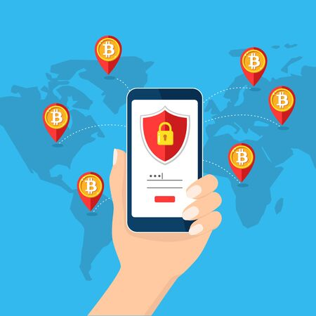 Bitcoin mobile security, safety saving, protection concept. Map Earth. Hand holding smartphone. Bit coin cryptocurrency, blockchain. Lock phone padlock. Flat design vector illustration web mobile app Stock Photo