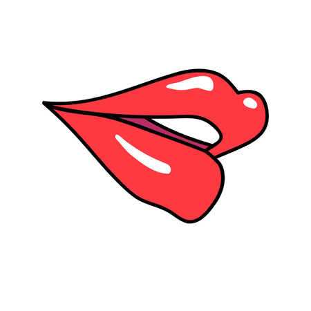 Vektor red lips isolated on white. Lips kiss sign, sticker, patch badge. Female mouth. Icon pop art 80s 90s style. Love valintines day symbol. Fashion illustration for banner, greeting card, textile. Stock Photo