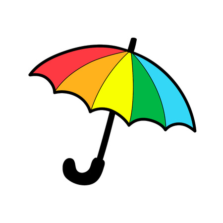 Umbrella cartoon sign isolated on white. Vector illustration, sticker, patch badge. Rainbow colored