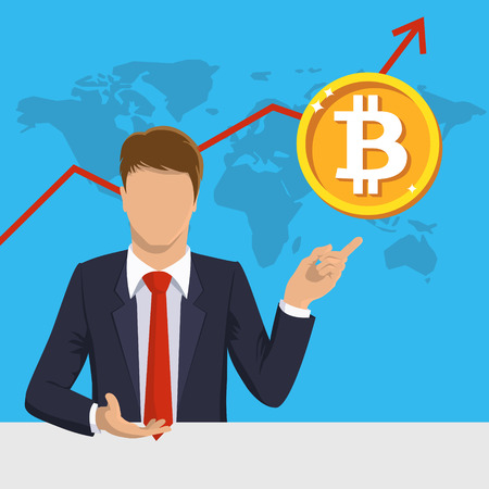 Bitcoin business. Businessman, bit coin, infographic. Cryptocurrency, arrow up. Golden. Finance, global digital money concept. Flat design vector illustration for web sit, mobile app