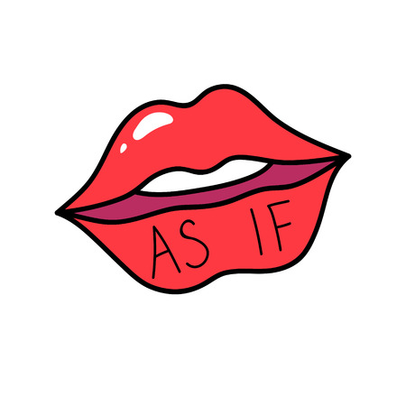 Vektor red lips isolated on white. Lips kiss sign, sticker, patch badge. As if. Female mouth. Icon pop art 80s 90s style. Love valintines day symbol. Fashion illustration for banner, card, textile.