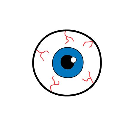 Eyeballs with blue iris isolated on white background.Vector fun cartoon illustration isolated on white background. Halloween horror symbol. Sticker, patch badge 80s 90s fashion design