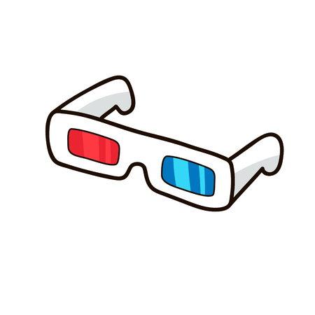 3D glasses. Red cyan glasses isolated on white background. Cute hand drawn vector cartoon illustration. Sticker, patch badge design fashion design