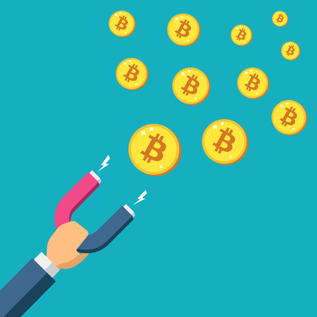 Magnet attract bitcoin Golden coins. Success Attracting investments concept. Crypto currency design for web site, banner, mobile app. Payment Cryptocurrency, Color Minimalist flat vector illustration