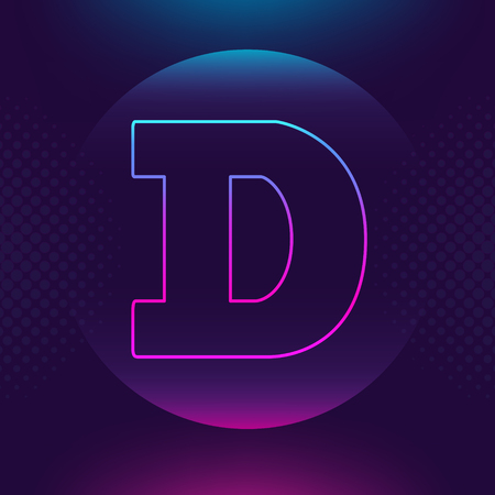 Dogecoin DOGE vector outline icon. Cryptocurrency e-currency payment crypto currency blockchain button. Trendy Bright lighting logo adaptation design web site mobile app EPS. Ultra violet background
