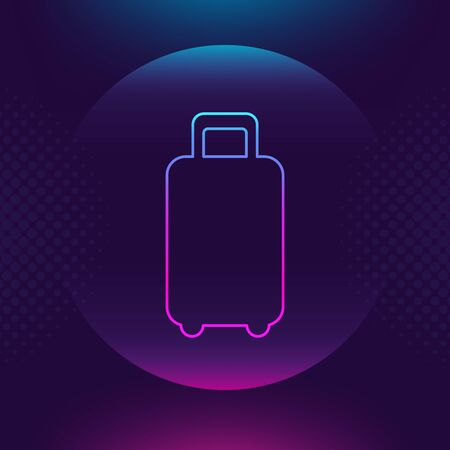 Baggage luggage outline vector icon. Flat thin button symbol. Neon luminous sign. Trip, traveling, travel concept. Ultra violet Trendy design web icon, mobile app, website social media.