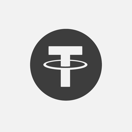 Tether USDT vector adapted icon. Cryptocurrency, e-currency, payment crypto currency, blockchain button. Flat minimalist adaptation design web site mobile app EPS. Isolated on white. 版權商用圖片