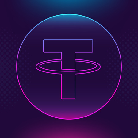 Tether USDT vector outline icon. Cryptocurrency, e-currency, payment crypto currency, blockchain button. Trendy Bright lighting logo adaptation design web site mobile app EPS. Ultra violet background. 版權商用圖片