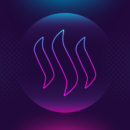 Steem vector outline icon. Cryptocurrency, e-currency, STEEM payment crypto currency, blockchain button. Trendy Bright lighting logo adaptation design web site mobile app EPS. Ultra violet background. Zdjęcie Seryjne