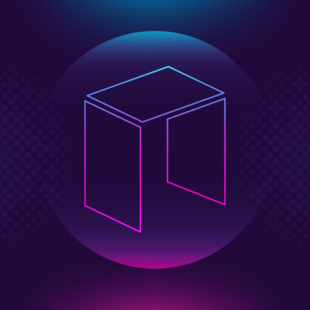 Neo vector outline icon. Cryptocurrency, e-currency, NEO payment crypto currency, blockchain button. Trendy Bright lighting logo adaptation design web site mobile app EPS. Ultra violet background.
